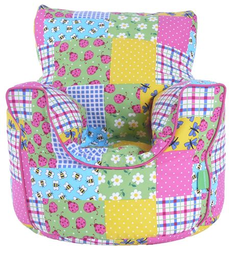 Patchwork Bean Bag - cotton patchwork ladybird bean bag arm chair with beans