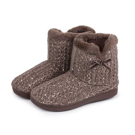 knit bootie slippers isotoner sparkle knit pillowstep bootie slippers ebay