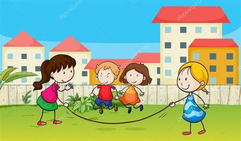 imagenes de niños jugando ala cuerda ni 241 os jugando cuerda vector de stock 18364195