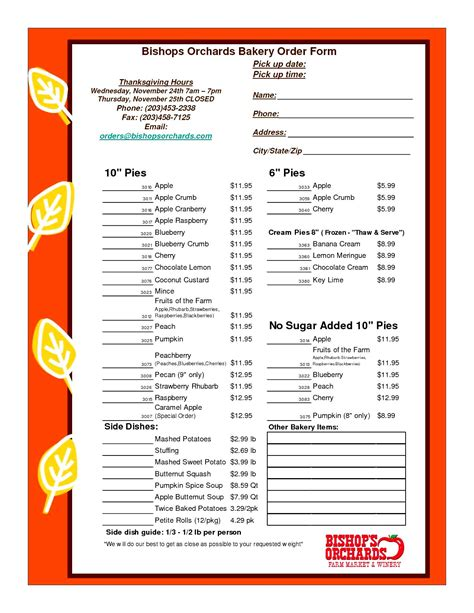 bakery order form template excel besttemplates123