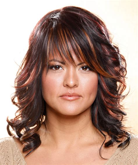 Salon Hairstyles by Wavy Casual Hairstyle With Layered Bangs