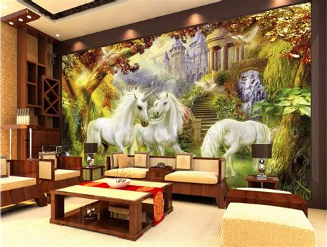home decor painting custom mural 3d wallpaper picture european forest unicorn
