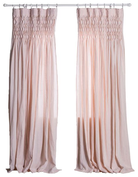 smocked sheer curtains curtain panel pink smocked traditional curtains by