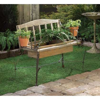 plant benches stands rustic iron wood bench chair planter box plant stand