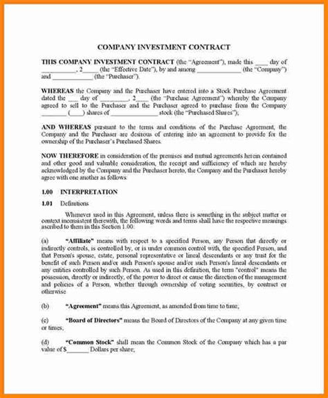 equity investment agreement template investment contract templates free premium