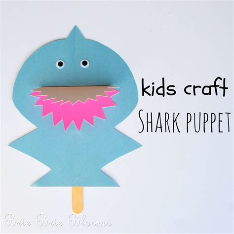 easy shark crafts for craft shark puppet brie brie blooms