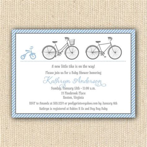 Bicycle Baby Shower Invitations by Tricycle Bicycle Baby Shower Invitations Diy Printable