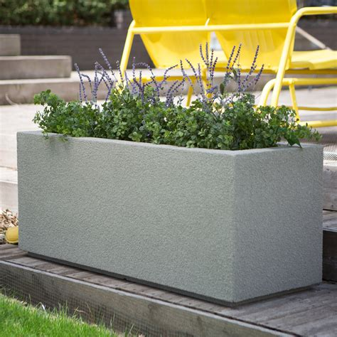 Poly Stone Milan Trough 4 Ft Outdoor Planter Planters Outdoor Planters