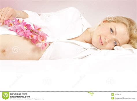 pregnancy bed royalty free stock image young beautiful woman with pink