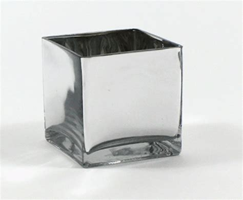 Square Silver 6 quot silver square vases 6 quot silver cube vase