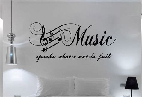 word art for bedroom walls quote bedroom wall art music speaks words fail sticker