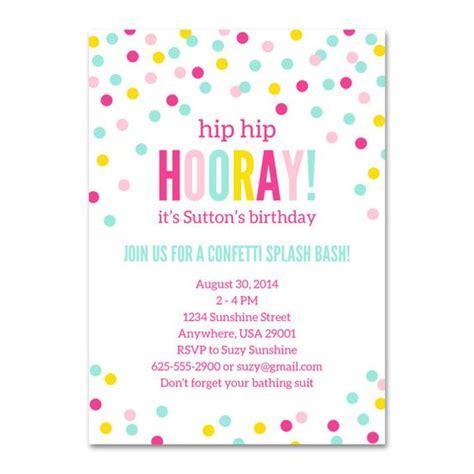 printable birthday invitations for tweens confetti birthday invitation confetti party invitation