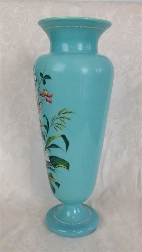 Large Turquoise Glass Vase Stunning Large 15 Quot C19th Bohemian Turquoise Opaline Glass
