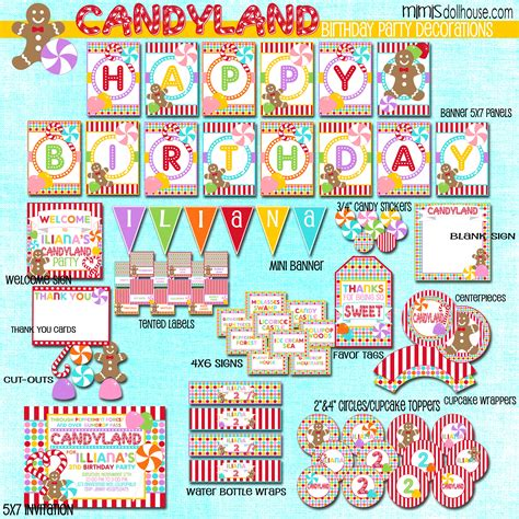 printable party decorations candyland party printable collection mimi s dollhouse