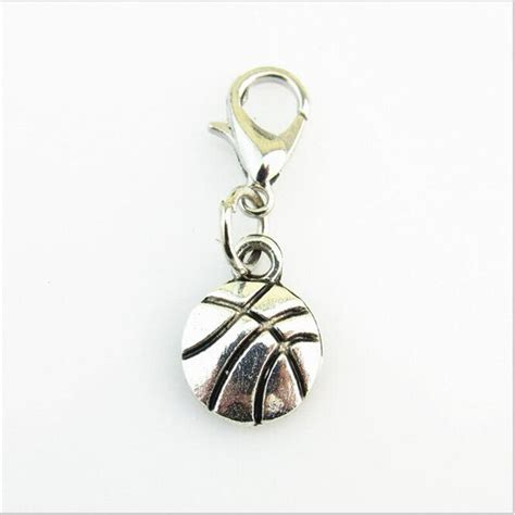 fashion zinc alloy basketball dangle charms sport lobster clasp charms diy living glass floating