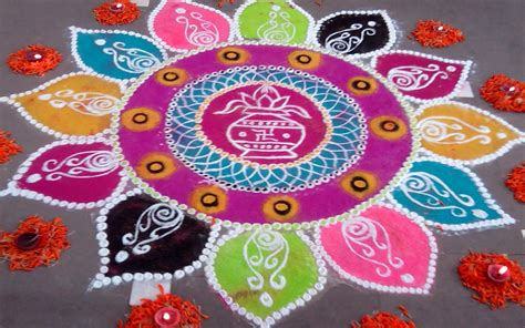 rangoli designs for pongal sankranti with dots flowers