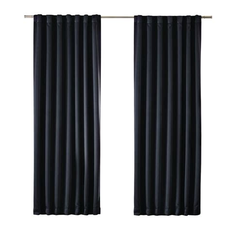 black window curtains home decorators collection black blackout media rod pocket