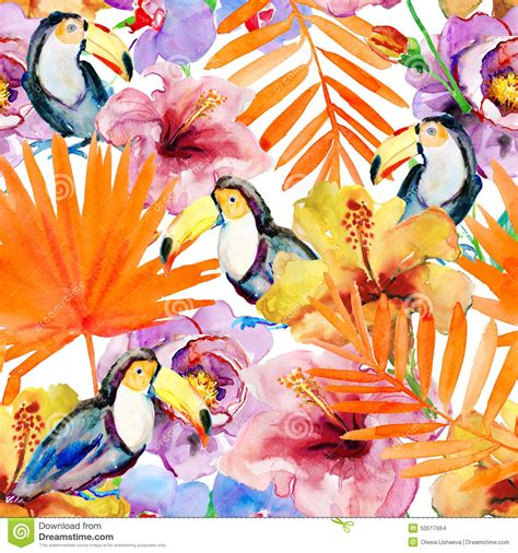 watercolor tropical pattern tropical seamless pattern stock illustration image