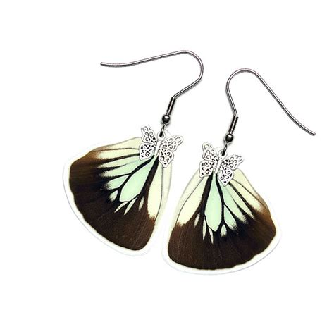 Handmade Butterfly Wings - handmade real butterfly wing earrings pareronia boabera