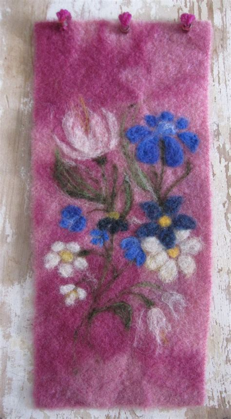 needle felted wall hanging soft garden florals needle