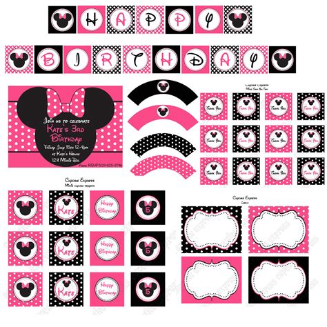 minnie mouse printable birthday decorations printable minnie mouse birthday party invitation pink