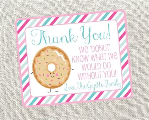 Free Thank You Card Templates Donut by Donut Thank You Card For Nurses Friend