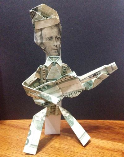 Easy Origami Person - money origami shirt and tie folding