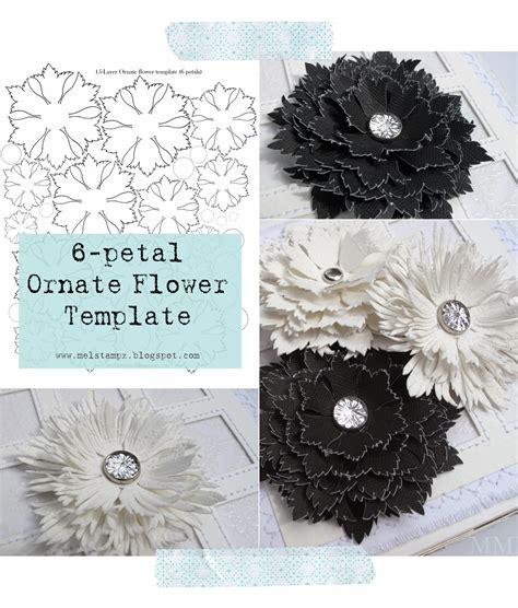 paper flowers templates mel stz 6 petal ornate flower template