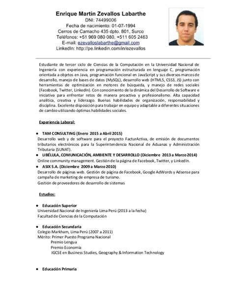Modelo Curriculum Vitae Simple Peruano De Ivl De Dennis Y Manuel