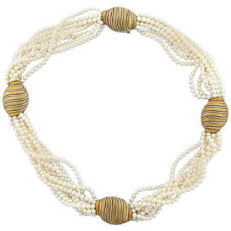 multi strand buccellati pearl gold multi strand necklace for sale at