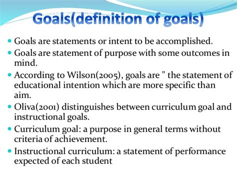 personal statement of goals and objectives aims goals and objective purpose in curriculum development