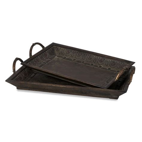 wooden ottoman trays embossed metal wood cocktail ottoman tray serving tray