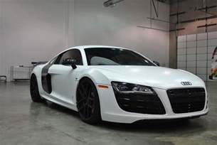 black audi r8 color change to satin white car wrap city