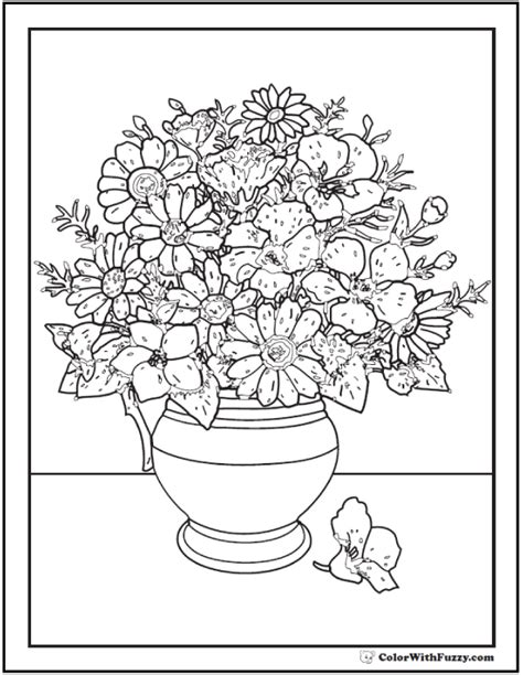 coloring pages of vase with flowers 102 flower coloring pages customize and print pdf