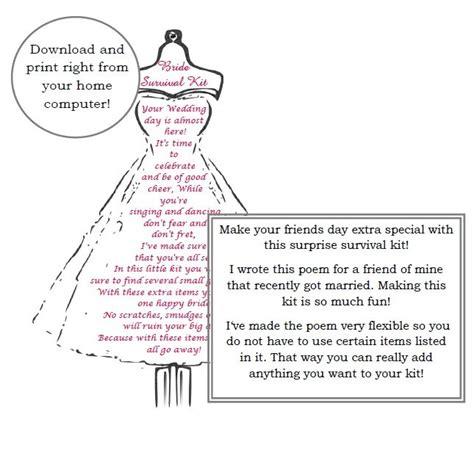 Wedding Gift Kits by Survival Kit Poem Wedding Gift Digital