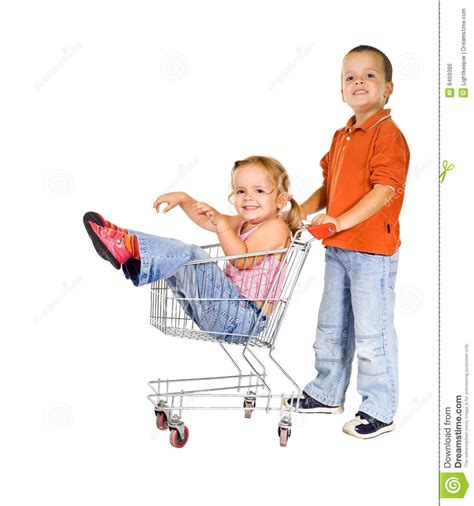 kid shopping cart laughing with shopping cart stock photo image 8469386