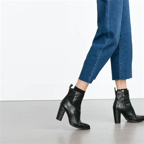zara leather high heel ankle boots zara high heel leather ankle boots with pull tab in black