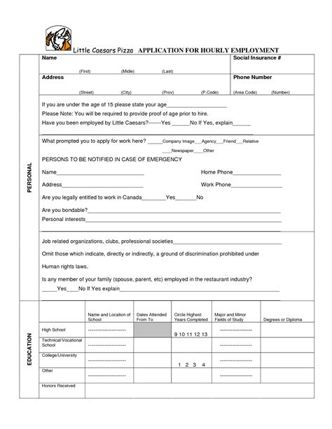 printable job applications little caesars little caesars job application pdf download wendy039s job