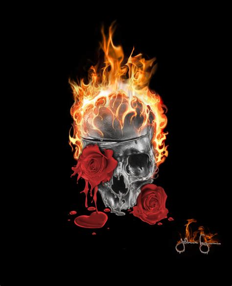 flaming skull by johnflynn01 on deviantart