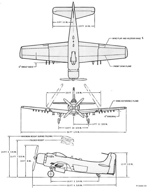 Dimensions Of by Douglas A 1 Skyraider Aircraft Dimensions