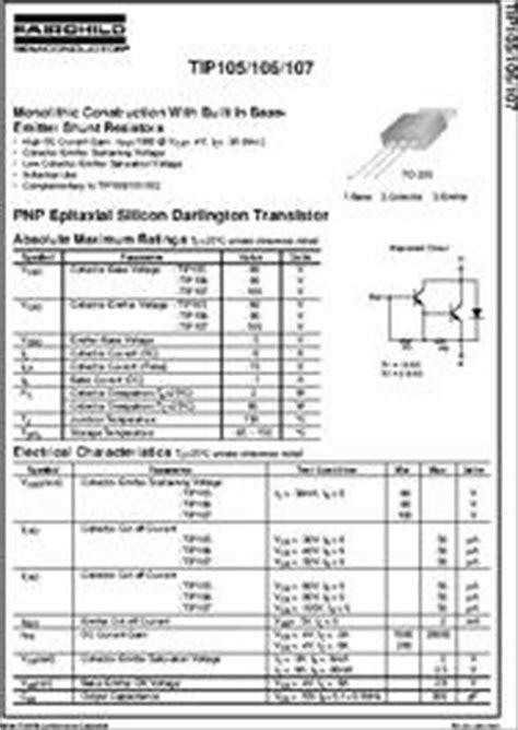 darlington transistor datasheet pnp tip107 datasheet pnp epitaxial silicon darlington transistor