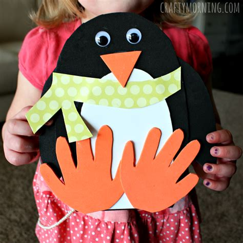 crafts using handprints handprint penguin craft for to make crafty morning