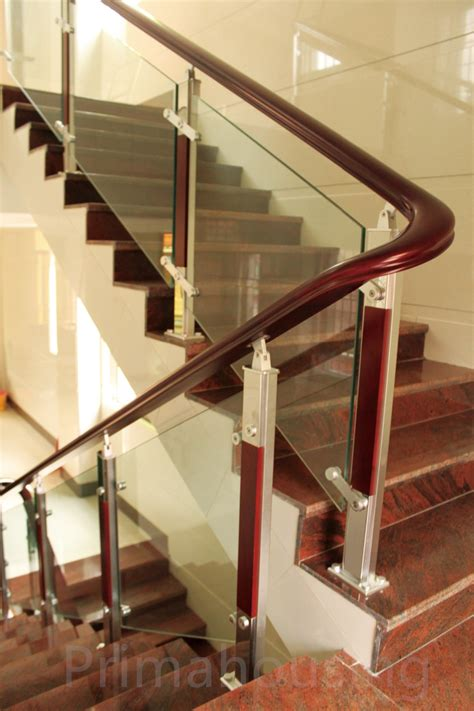 glass banister cost modern railing design stainless steel wood glass stair