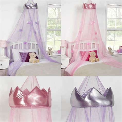canopy beds girls princess crown bed canopy childrens insect mosquito net pink purple ebay