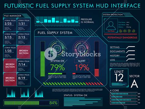 virtualization the future change layout settings in futuristic fuel supply system hud interface layout big