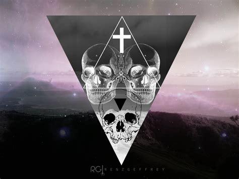 skull desktop wallpaper tumblr hipster triangles