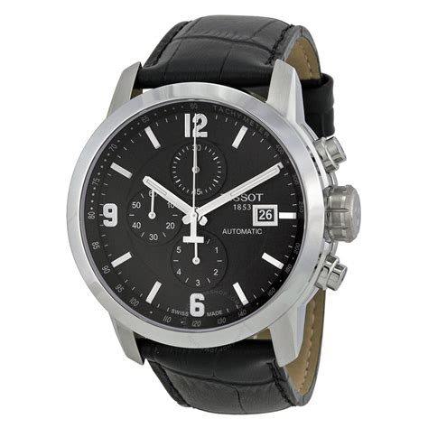 tissot prc 200 automatic chronograph black black leather s t0554271605700 prc