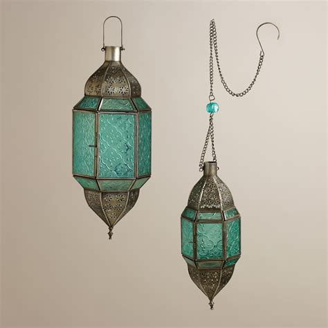 Sabita Set By House Of Kanio 1 blue sabita embossed glass hanging lanterns hanging