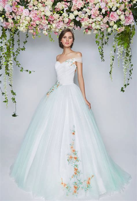 light blue shoulder wedding gown embroidered flowers the wedding scoop s favorite a