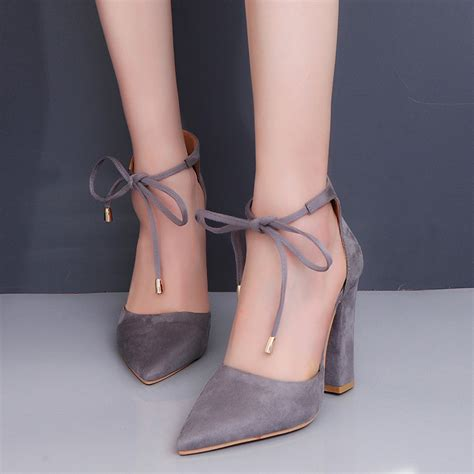 Ankle Pointed Heel Sandals womens pointed toe ankle chunky block heel pumps